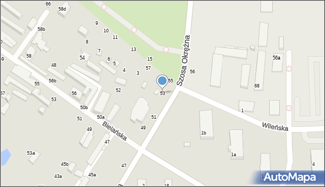 Toruń, Szosa Okrężna, 53, mapa Torunia