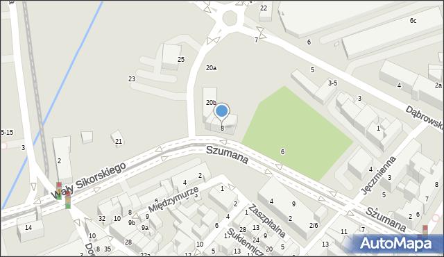 Toruń, Szumana Leona, 8, mapa Torunia