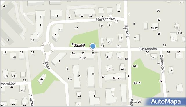 Toruń, Szuwarów, 32, mapa Torunia