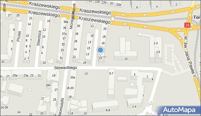 Toruń, Szymanowskiego Karola, 12, mapa Torunia