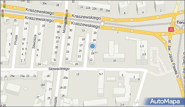 Toruń, Szymanowskiego Karola, 14, mapa Torunia