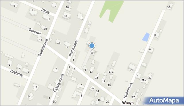 Wacyn, Szafirowa, 11, mapa Wacyn