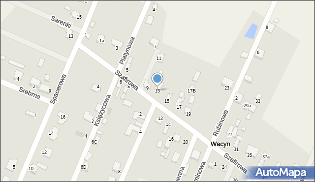 Wacyn, Szafirowa, 13, mapa Wacyn