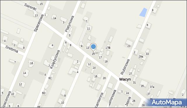 Wacyn, Szafirowa, 15, mapa Wacyn