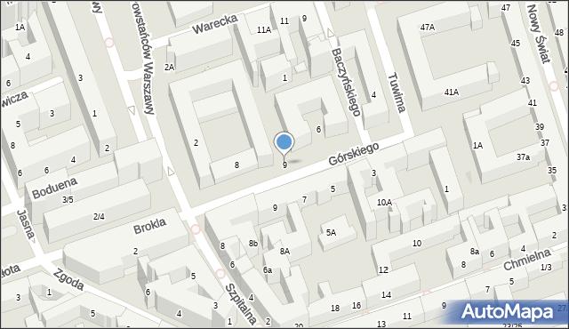 Warszawa, Szpitalna, 9, mapa Warszawy