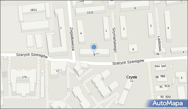 Warszawa, Szarych Szeregów, 8, mapa Warszawy