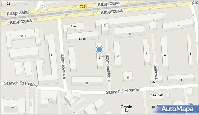 Warszawa, Szymańskiego Edwarda, 1, mapa Warszawy