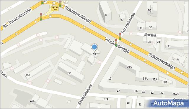 Warszawa, Szczęśliwicka, 34, mapa Warszawy