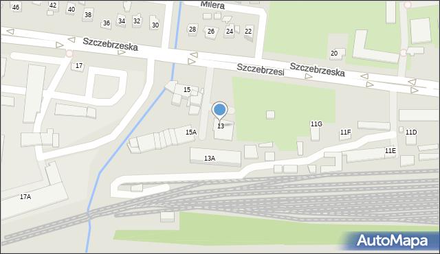 Zamość, Szczebrzeska, 13, mapa Zamościa