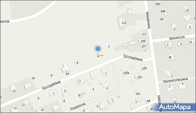 Żółtańce-Kolonia, Szczęśliwa, 4, mapa Żółtańce-Kolonia