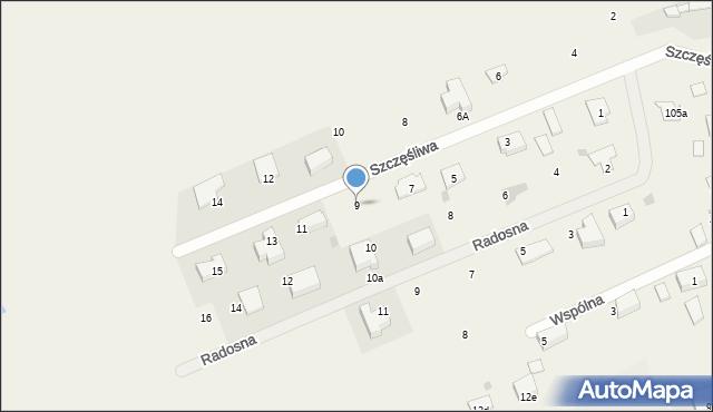 Żółtańce-Kolonia, Szczęśliwa, 9, mapa Żółtańce-Kolonia