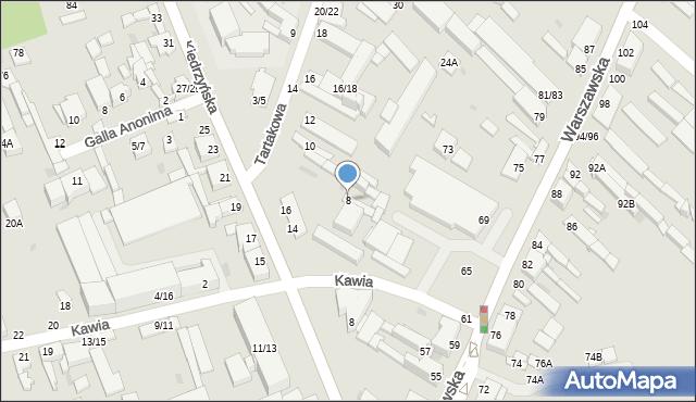 Częstochowa, Tartakowa, 8, mapa Częstochowy