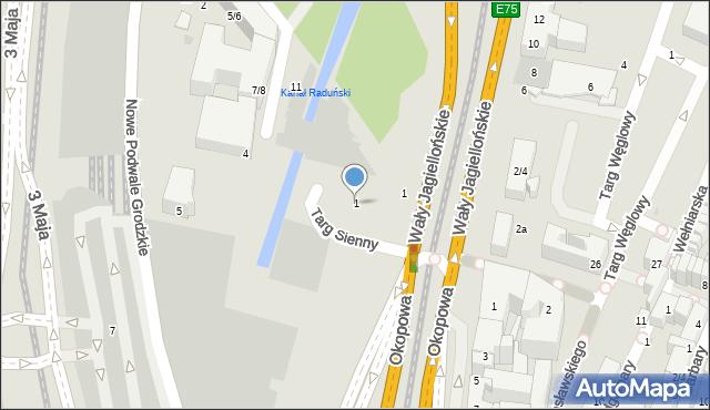 Gdańsk, Targ Sienny, 1, mapa Gdańska