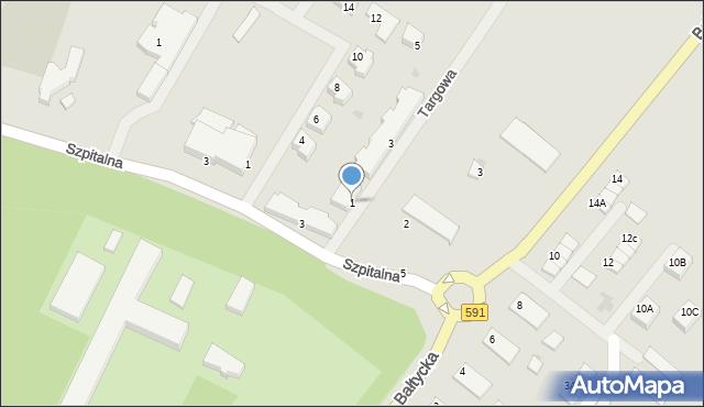 Kętrzyn, Targowa, 1, mapa Kętrzyn