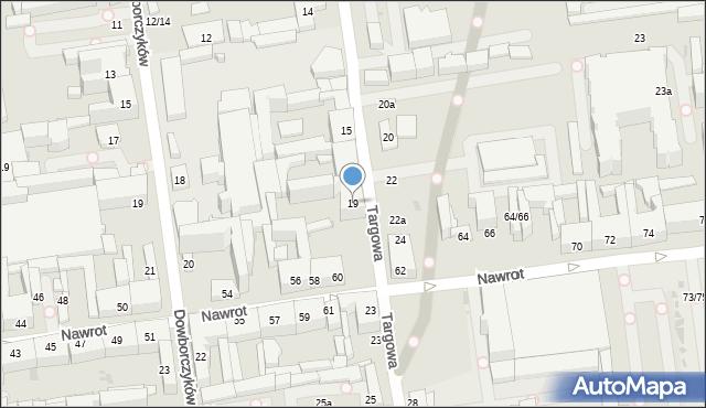 Łódź, Targowa, 19, mapa Łodzi