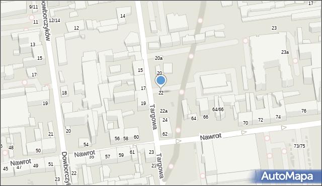 Łódź, Targowa, 22, mapa Łodzi