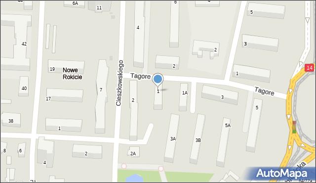 Łódź, Tagore Rabindranatha, 1, mapa Łodzi