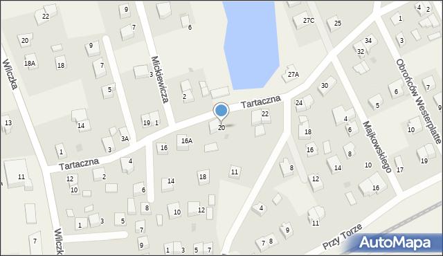 Luzino, Tartaczna, 20, mapa Luzino