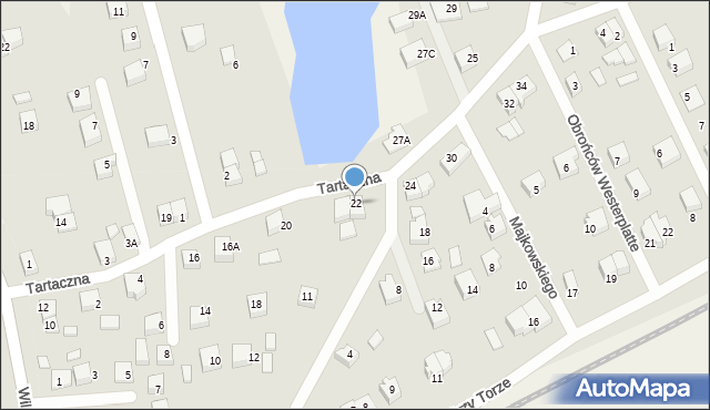 Luzino, Tartaczna, 22, mapa Luzino