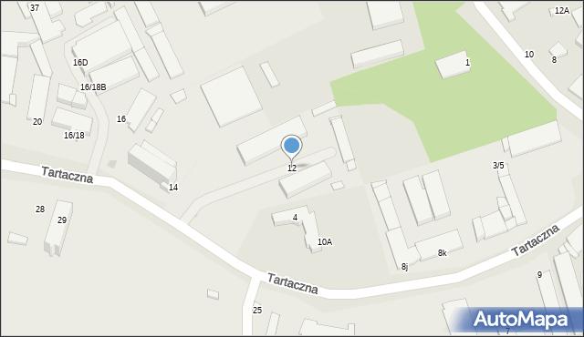 Radom, Tartaczna, 12, mapa Radomia