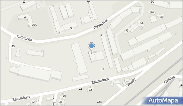 Radom, Tartaczna, 7, mapa Radomia