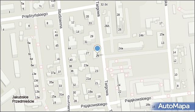 Toruń, Targowa, 25, mapa Torunia