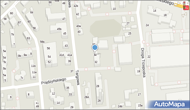 Toruń, Targowa, 34, mapa Torunia