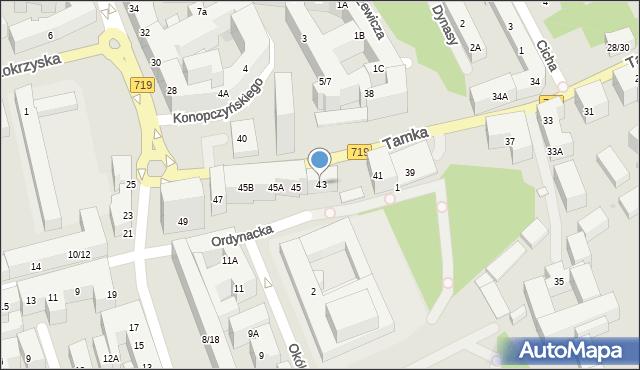 Warszawa, Tamka, 43, mapa Warszawy