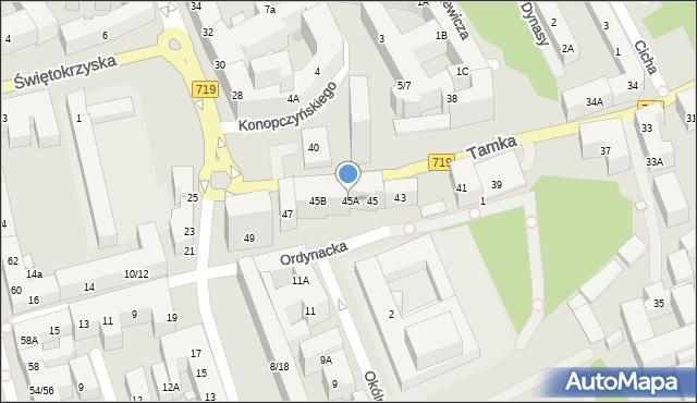 Warszawa, Tamka, 45A, mapa Warszawy