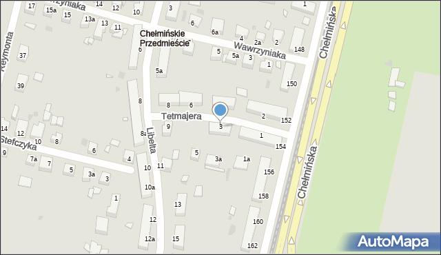 Grudziądz, Tetmajera, 3, mapa Grudziądza