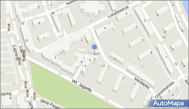 Słupsk, Teatralna, 5, mapa Słupska