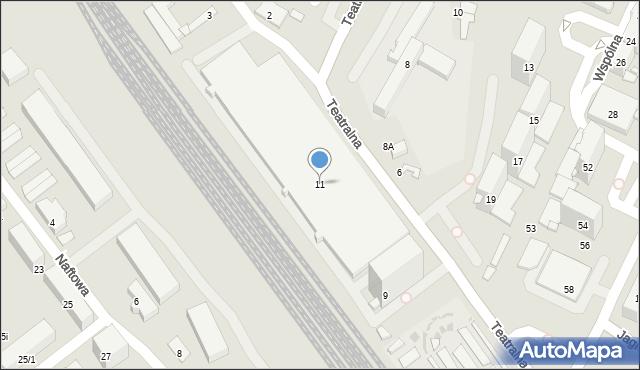 Sosnowiec, Teatralna, 11, mapa Sosnowca