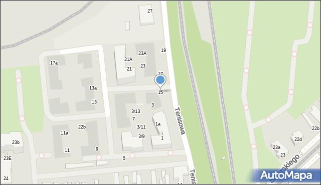 Szczecin, Tenisowa, 15, mapa Szczecina