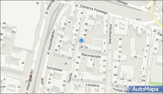 Szczecin, Tkacka, 64, mapa Szczecina