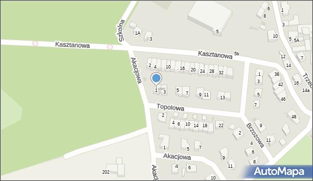 Chocianów, Topolowa, 1, mapa Chocianów