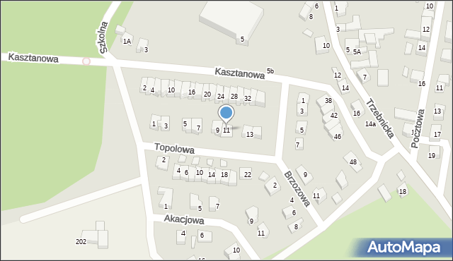 Chocianów, Topolowa, 11, mapa Chocianów
