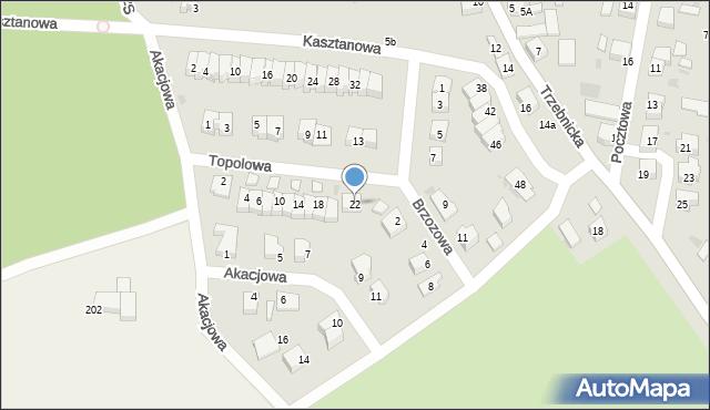 Chocianów, Topolowa, 22, mapa Chocianów