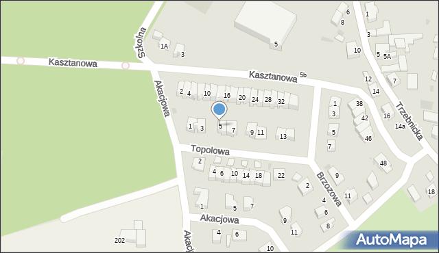 Chocianów, Topolowa, 5, mapa Chocianów