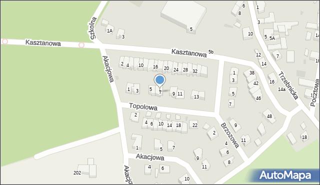 Chocianów, Topolowa, 7, mapa Chocianów