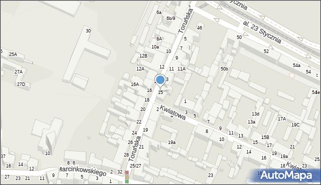 Grudziądz, Toruńska, 15, mapa Grudziądza