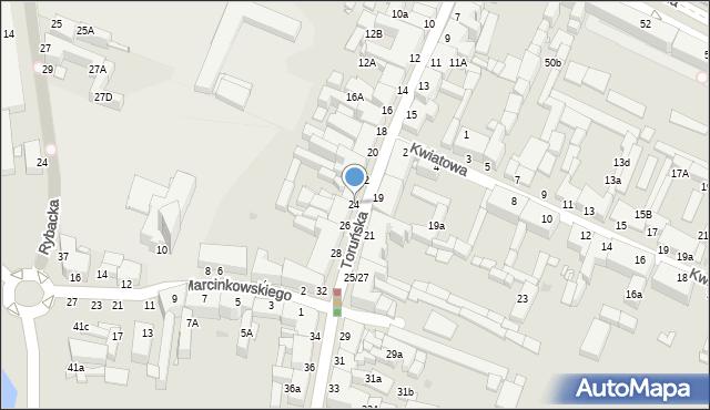 Grudziądz, Toruńska, 24, mapa Grudziądza