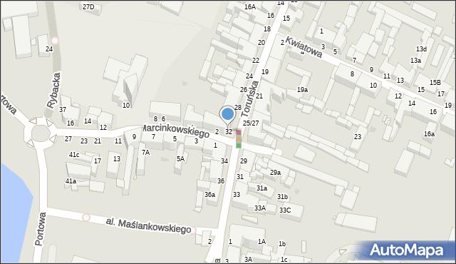 Grudziądz, Toruńska, 32, mapa Grudziądza