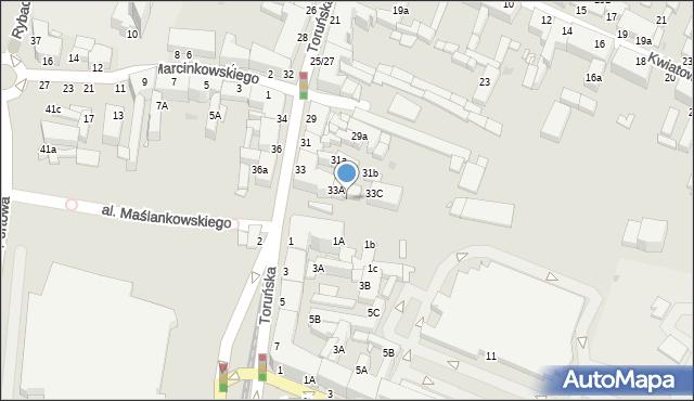 Grudziądz, Toruńska, 33B, mapa Grudziądza