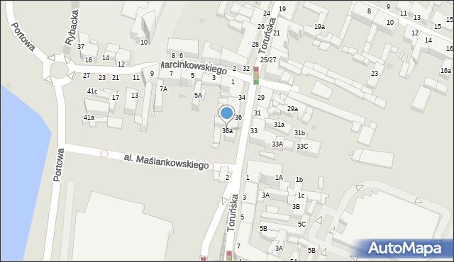 Grudziądz, Toruńska, 36a, mapa Grudziądza
