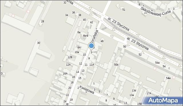 Grudziądz, Toruńska, 7, mapa Grudziądza