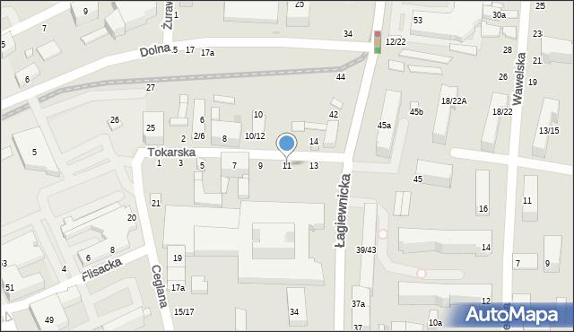 Łódź, Tokarska, 11, mapa Łodzi