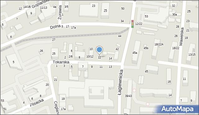 Łódź, Tokarska, 12, mapa Łodzi
