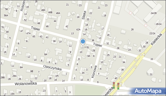 Radom, Topiel, 33, mapa Radomia