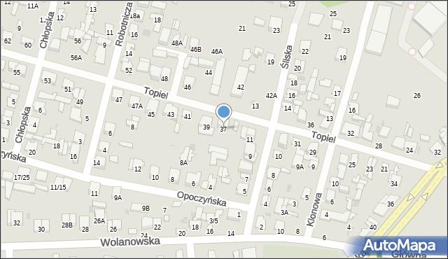 Radom, Topiel, 37, mapa Radomia
