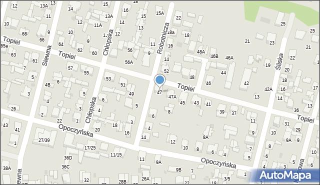 Radom, Topiel, 47, mapa Radomia